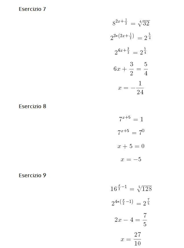 equazione esponenziali